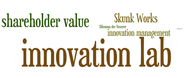 "Abb. 3 : Tag Cloud, Auszug aus Abb.2, Zoom 102 , Begriff ""innovation lab"" mit 3,7 Mio. Treffern"